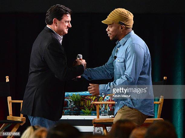 Head of North America Branded Cards Citigroup Ralph Andretta and Sway Calloway on stage during Backstage with Citi Blink 182 at Citigroup Building on...