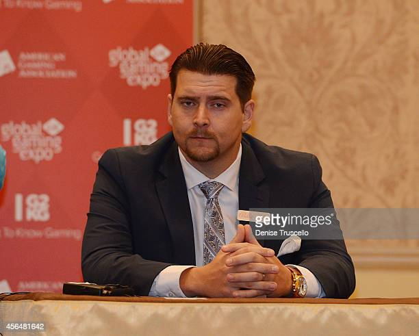 Head of North American Sales Bally Tech Mike McKiski speaks at the 'iGaming Past Present Future' Panel at the 14th Annual Global Gaming Expo at the...