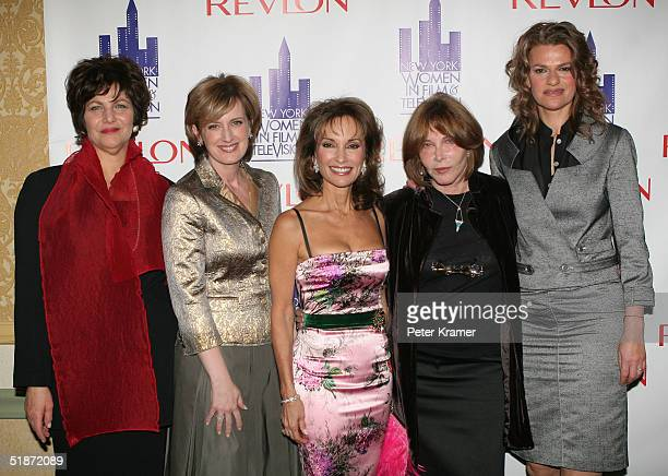 Head of NYWIFT Linda Kahn television executive Anne Sweeney actress Susan Lucci actress Lee Grant and comedian Sandra Bernhard attend the Women in...