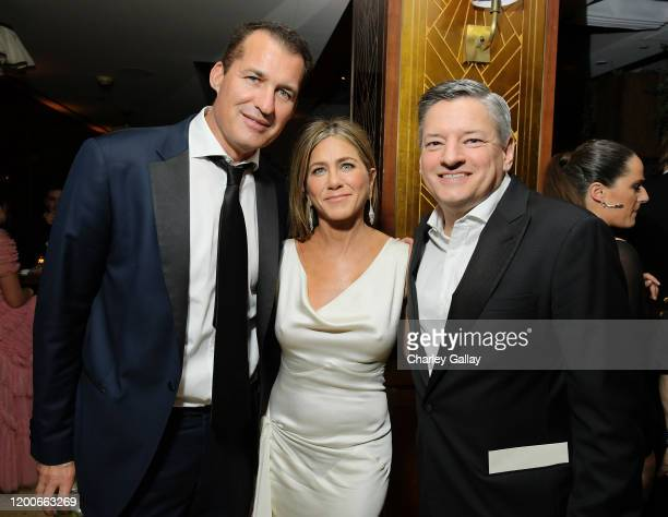 Head of Original Films at Netflix Scott Stuber, Jennifer Aniston and Chief Content Officer Ted Sarandos attend 2020 Netflix SAG After Party at Sunset...