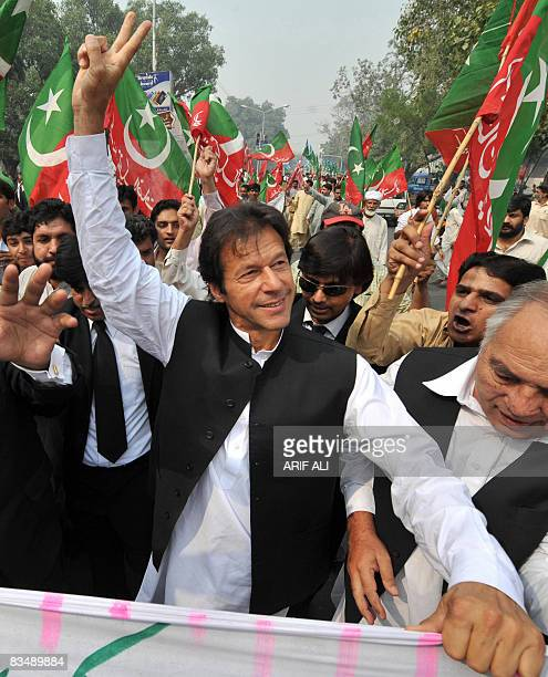 Head of Pakistan Tehreek-e-Insaf or Movement of Justice, Imran Khan protests along with lawyers in Lahore on October 30, 2008 for the restoration of...