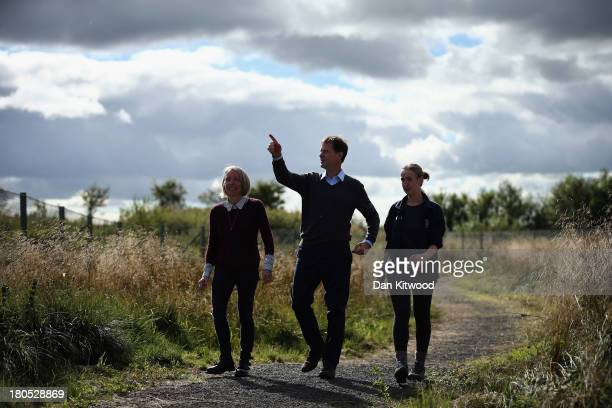 Head of Policy at Scottish Wildlife Trust Dr Maggie Keegan and Cathkin Marsh Project Officer Laura Cunningham show Deputy British Prime Minister and...