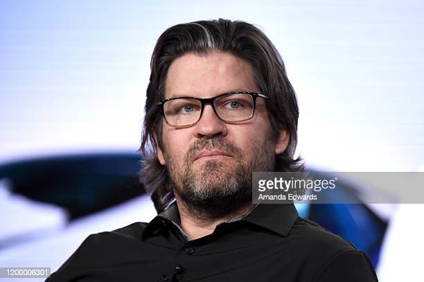 Head of Programming Developement MotorTrend Group Mike Suggett of 'Top Gear America' speaks onstage during the MotorTrend portion of the Discovery...