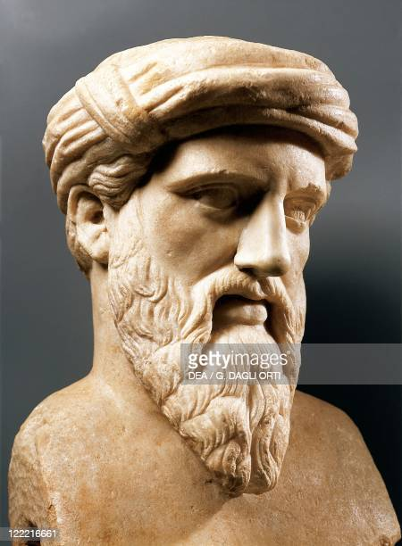 Head of Pythagoras Greek philosopher and mathematician founder of the Pythagorean school in Crotone Roman copy after a Greek original marble