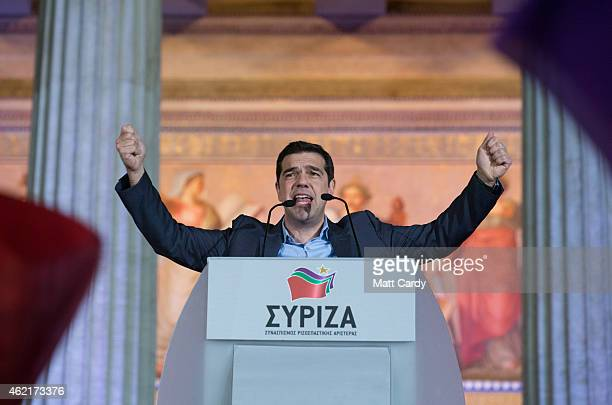 Head of radical leftist party Alexis Tsipras speaks to supporters after winning the election on January 25 2015 in Athens Greece Predictions suggest...