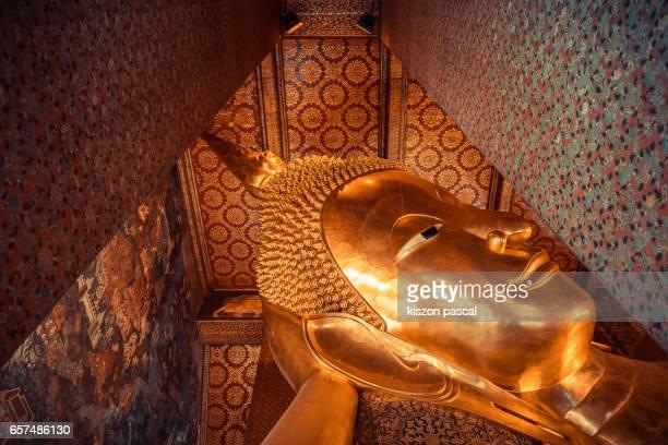 Head of Reclining buddha in Wat pho temple in Bangkok , Thailand , Asia