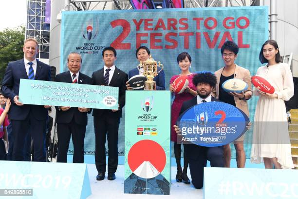 Head of Rugby World Cup Alan Gilpin, chief executive of the organizing committee for the 2019 Rugby World Cup in Japan Akira Shimazu, Kenki Fukuoka,...