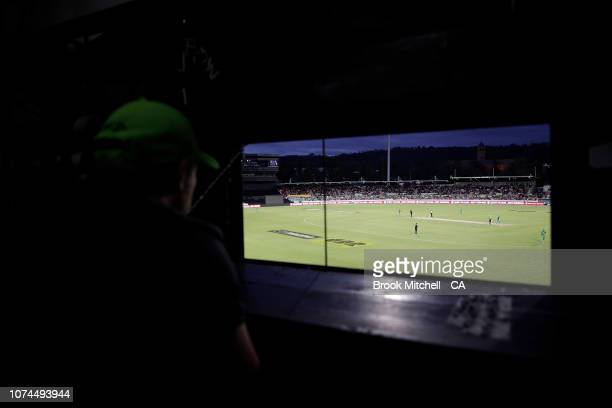 Head of scoreboard operations Rob Tunningly looks on from the Jack Fingleton scoreboard during the Sydney Thunder v Melbourne Stars Big Bash League...