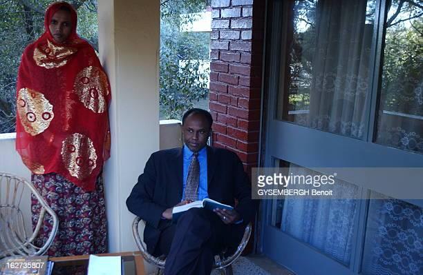 Head Of Somali Clan Hussein Aidid FormerMarine In The US Army AddisAbeba Ethiopie 3 février 2002 Dans un hôtel de la capitale éthiopienne le chef de...