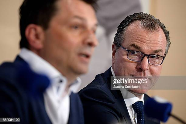 Head of sport Christian Heidel and chairman Clemens Toennies of FC Schalke 04 speak to the media during a press conference at VeltinsArena on May 18...