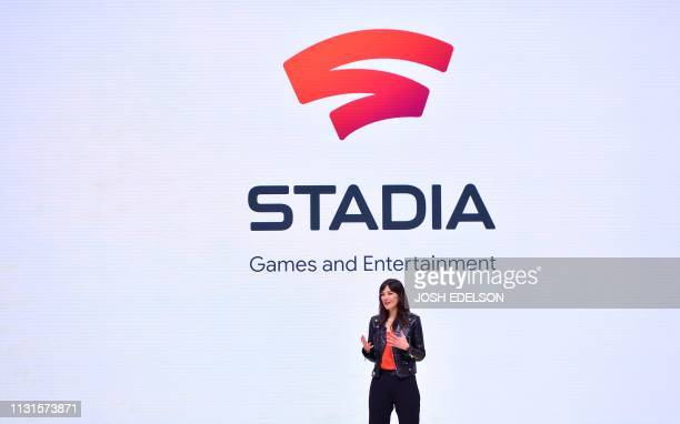 Head of Stadia Games and Entertainment Jade Raymond speaks onstage during the annual Game Developers Conference at Moscone Center in San Francisco...