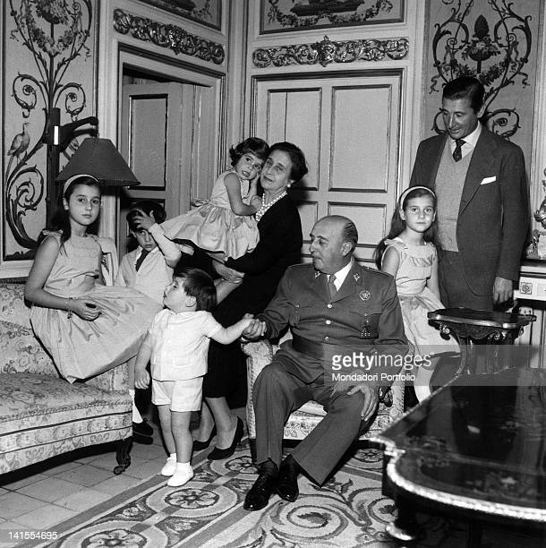Head of State and President of Spanish Government Francisco Franco sitting with his family Madrid 1960