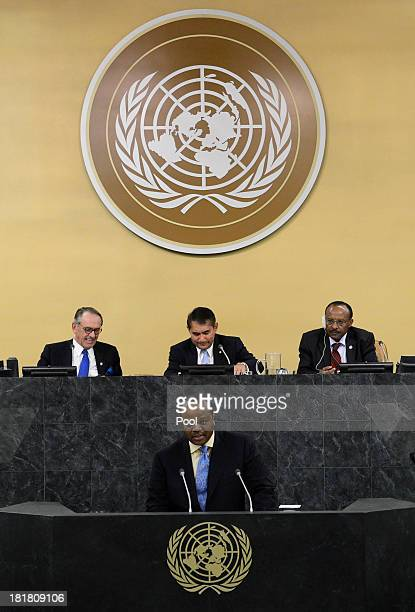 Head of State of the Kingdom of Swaziland King Mswati III addresses the 68th session of the General Assembly at United Nations headquarters on...