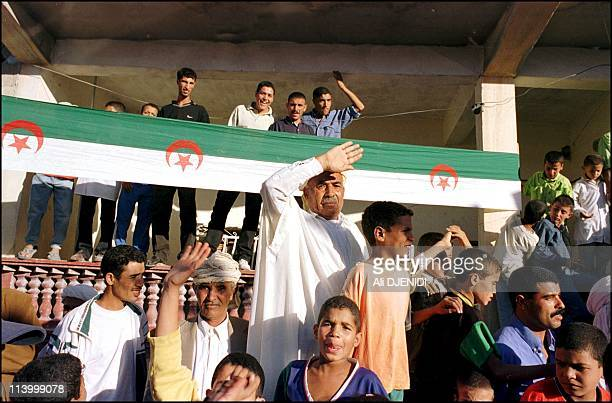 Head of the Algerian government Mr Benflis, the secretary general of the FLN party in the city of M'sila, campaigning in the local elections planned...