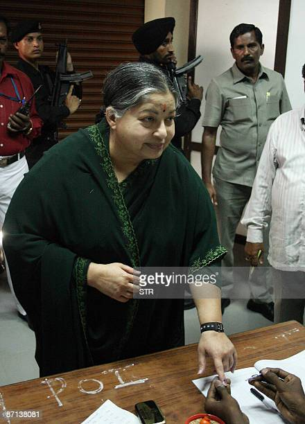 Head of the All India Anna Dravida Munnetra Kazhagam and leader of the opposition in the Tamil Nadu assembly J Jayalalithaa has her finger inked...