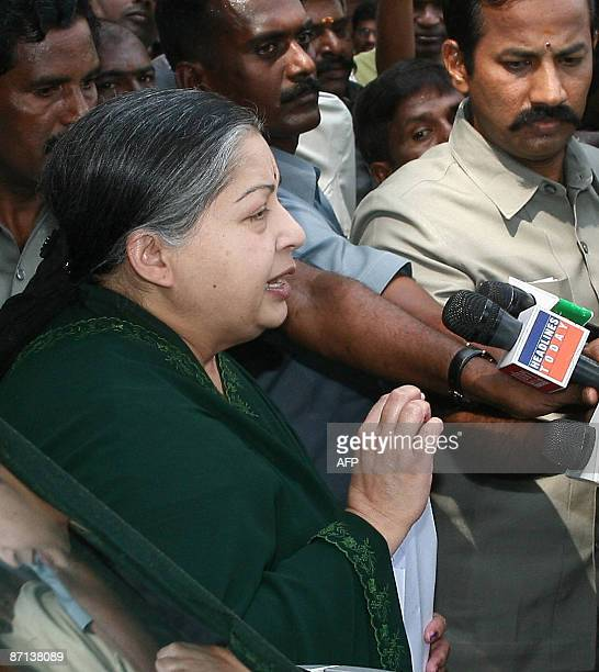 Head of the All India Anna Dravida Munnetra Kazhagam and leader of the opposition in the Tamil Nadu assembly J Jayalalithaa addresses the media after...