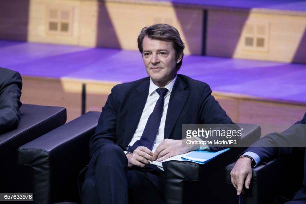 Head of the Association of Mayors of France Francois Baroin attends a gathering of Mayors of France at the Maison de la Radio on March 22, 2017 in...