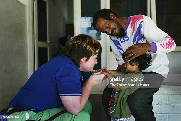 Head of the Australian nursing staff at Fakinah hospital Liz Cloughessy a clinical nurse from Westmead catches up with one of her favorite patient...