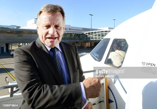 Head of the Berlin's Willy Brandt airport Hartmut Mehdorn stands next to an Airbus A321 on Schoenefeld airport in Berlin Germany 5 June 2013 German...