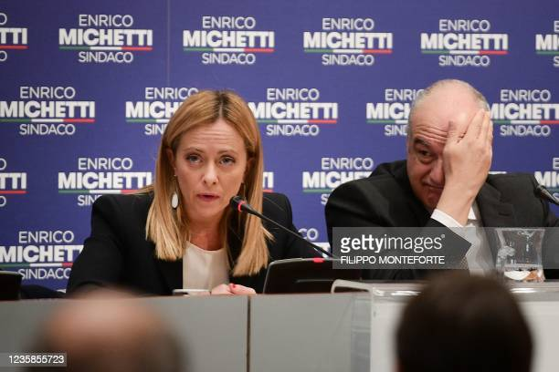 Head of the Brothers of Italy far-right party, Giorgia Meloni and right-wing candidate in Rome's city hall elections, Enrico Michetti hold a press...