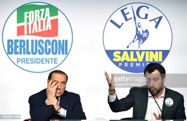 Head of the centreright Forza Italia Silvio Berlusconi and leader of farright party the League Matteo Salvini give a joint press conference with...