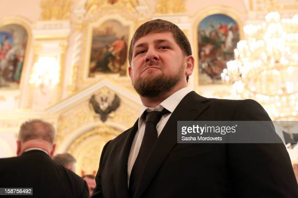 Head of the Chechen Republic Ramzan Kadyrov attends a State Council meeting at Grand Kremlin Palace on December 27 2012 in Moscow Russia During the...