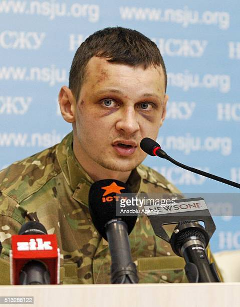 Head of the Civil Corps 'AzovCrimea' Stanislav Krasnov attend a pressconferencein KievUkraine on March 02 2016 Stanislav Krasnov and activist Oksana...