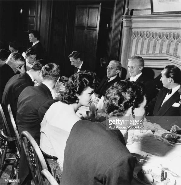 Head of the committee of the Oxford Union Michael Heseltine at the Oxford Union restaurant with Vice Chairman of the Communist Party of Great Britain...