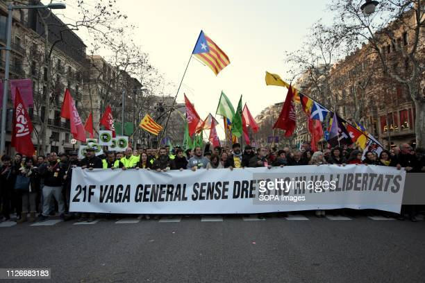 Head of the demonstration seen during a general strike in the streets of Barcelona to demand freedom human right and against the trial of the...