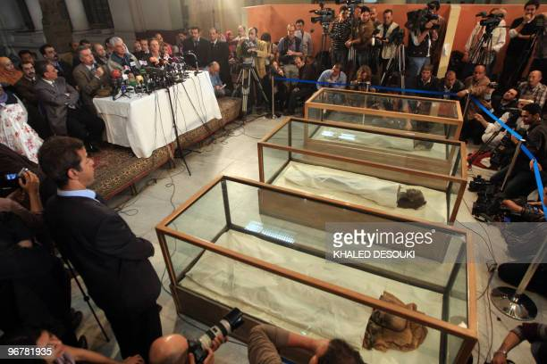 Head of the Egyptian Supreme Council of Antiquities Zahi Hawass gives a press conference in front of the mummy�s of Tutankhamun�s father Akhenaten...