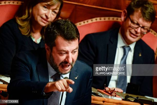 Head of the far-right Northern League party, current Italian Senator and former Interior Minister Matteo Salvini speaks on September 10, 2019 during...