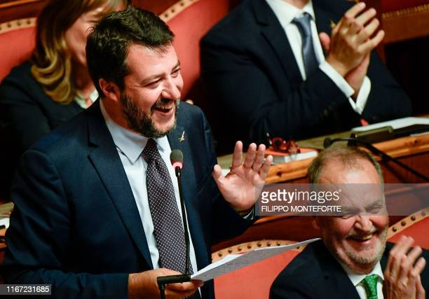 Head of the farright Northern League party current Italian Senator and former Interior Minister Matteo Salvini gestures as he speaks on September 10...