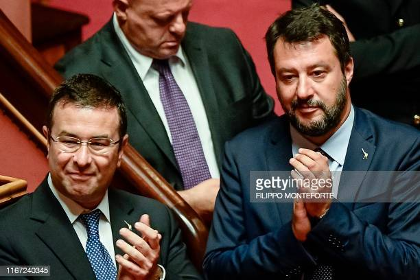 Head of the farright Northern League party current Italian Senator and former Interior Minister Matteo Salvini and Lega senator Stefano Candiani...