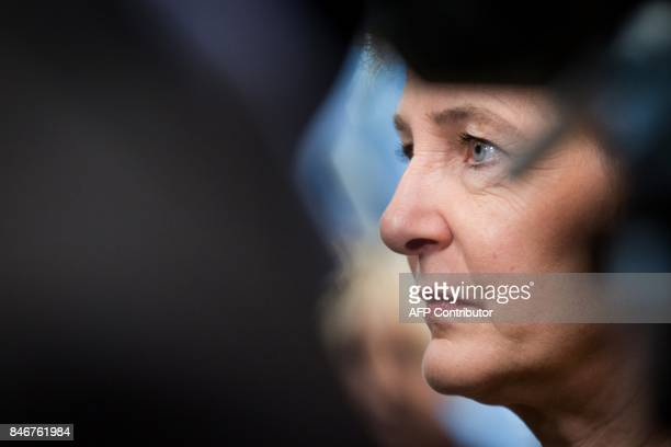 Head of the Federal department of Justice and Police of Switzerland Simonetta Sommaruga is pictured ahead of the EU Justice and Home Affairs Council...