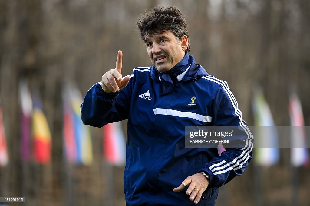 Head of the FIFA refereeing department, Switzerland's Massimo Busacca, gestures during a seminar for 2014 FIFA World Cup referees on March 27, 2014 at the home of FIFA in Zurich. The seminar included fitness test for 2014 FIFA World Cup, exercises with football players, physical exercises and theoretical sessions.