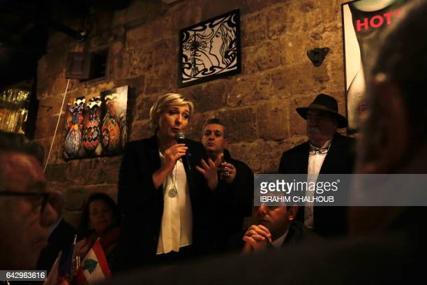 Head of the French farright party Front national and presidential candidate Marine Le Pen speaks during a dinner in the coastal city of Byblos on...