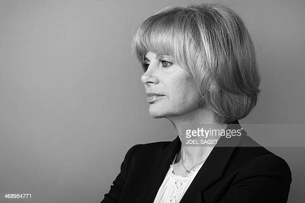 Head of the French national assembly Foreign Affairs commitee and French former Justice Minister Elisabeth Guigou poses on February 12 2014 at the...