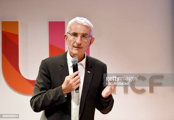Head of the French national stateowned railway company SNCF Guillaume Pepy gives a press conference to present the 'ouisncf' website which replaces...