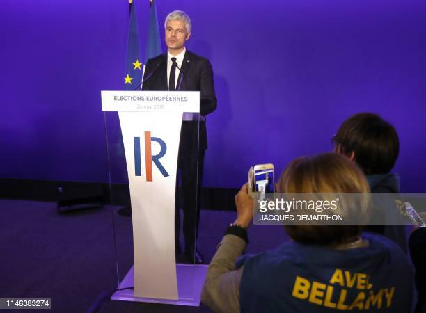 Head of the French right-wing Les Republicains party Laurent Wauquiez speaks after the announcement of initial results during an LR election-night...