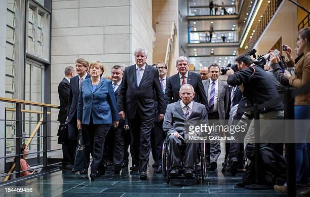 Head of the German Chancellery Ronald Pofalla, German Chancellor Angela Merkel, Bavarian Premier and Chairman of the Christian Social Union of...