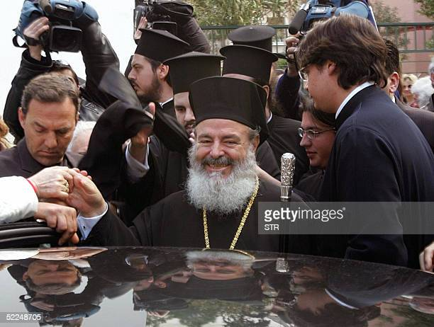 Head of the Greek Orthodox church Archbishop of Athens and All Greece Christodoulos leaves an Athens church27 February 2005 after celebrating mass...