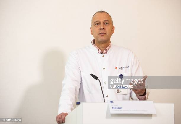 Head of the Institute of Transfusion Medicine Sven Peine speaks during a press conference about the start of a study with the Ebola drug Remdesivir...