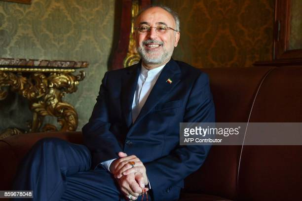 Head of the Iranian nuclear program Ali Akbar Salehi speaks with journalists before a meeting at Italian science academy Accademia dei Lincei in Rome...