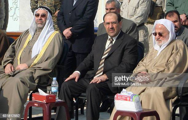 Head of the Iraqi Sunni endowment Abdul Ghafur alSamarrai Iraqi Prime Minister Nuri alMalilki and the head of the Iraqi Shiite endowment Saleh...