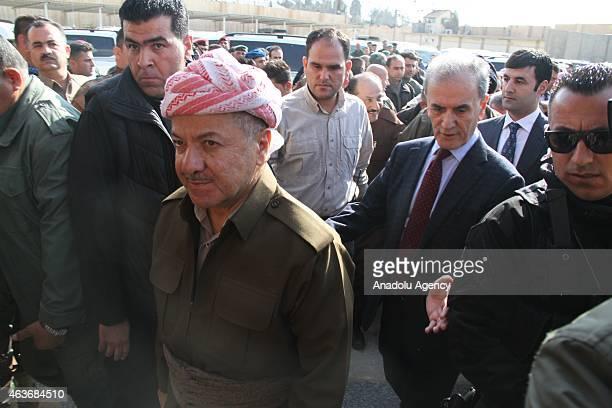 Head of the Kurdish Regional Government of Iraq, Masoud Barzani arrives at Kirkuk governor's office within his visit to Kirkuk, Iraq on February 17,...