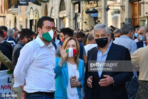 Head of the League party Matteo Salvini, head of the Brothers of Italy party, Giorgia Meloni and co-founder of the Forza Italia party, Antonio Tajani...