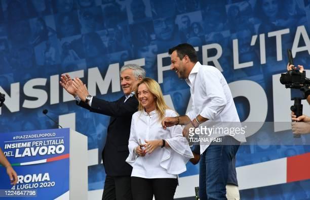 Head of the League party Matteo Salvini head of the Brothers of Italy party Giorgia Meloni and cofounder of the Forza Italia party Antonio Tajani...