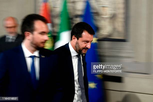 Head of the Lega Nord party, and outgoing Interior Minister, Matteo Salvini leaves following a meeting with the Italian President as part of a second...