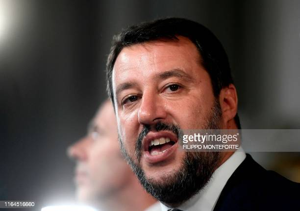 Head of the Lega Nord party and outgoing Interior Minister Matteo Salvini addresses the media following a meeting with the Italian President as part...