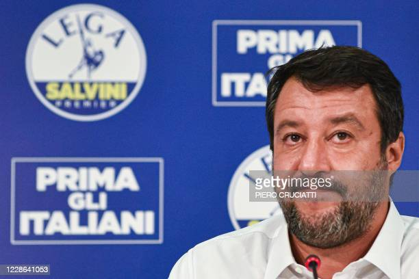 Head of the Lega party, Italian senator Matteo Salvini addresses a press conference at the Lega headquarters in Milan, Italy, on September 21, 2020...